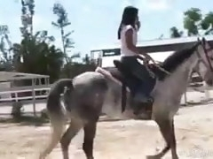 Topless Asian Teen Riding A Horse